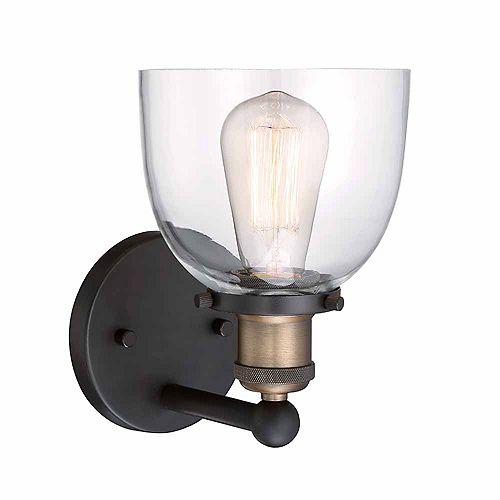 Applique à 1 ampoule à incandescence, verre transparent, bronze artisanal