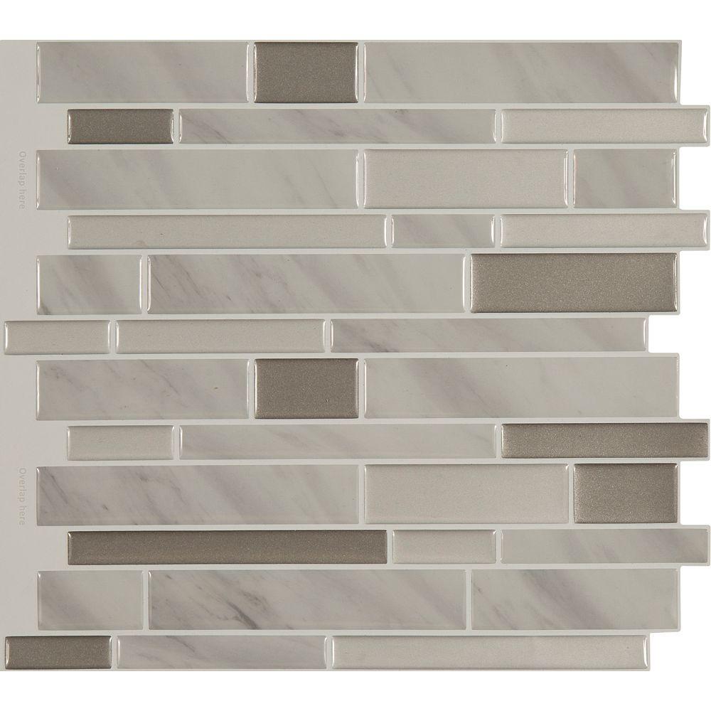 """Stick-It Tiles Dosseret Peler & coller en marbre Gris 11.25"""" x 10""""  8 tuiles"""
