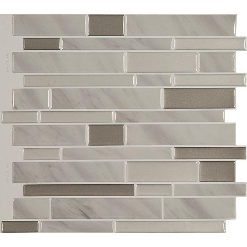 Peel And Stick Backsplash -Shiny Grey Marble Tile - 11.25 Inch X 10 Inch  8 Tile Pack