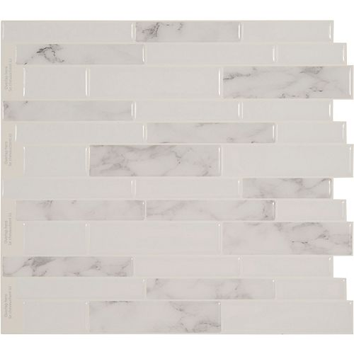 Peel And Stick Backsplash -White Marble Tile - 11.25 Inch X 10 Inch  4 Tile Pack