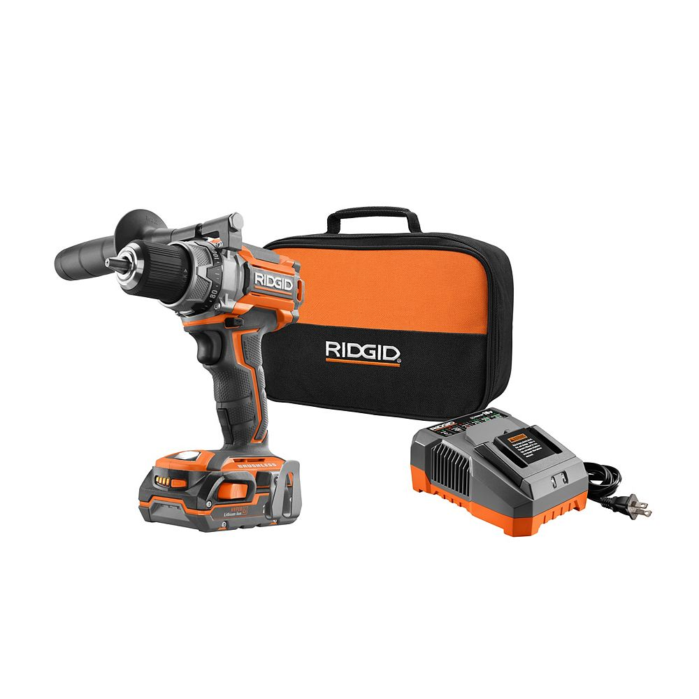 RIDGID 18-Volt Gen5X Lithium-Ion Brushless Compact Drill/Driver Kit w/ (2) 1.5Ah Batteries, Charger and Bag