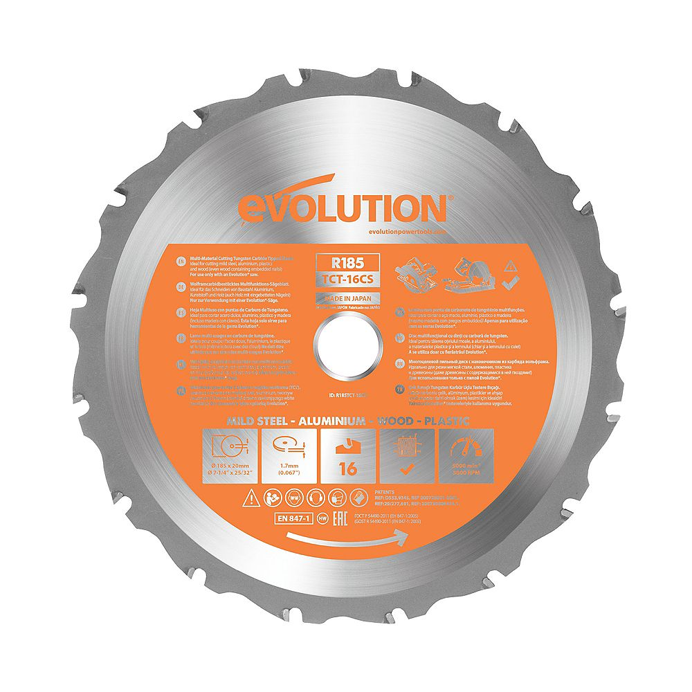 Evolution Power Tools 7-1/4 inch. Multi-Material Replacement Circular and Chop Saw Blade