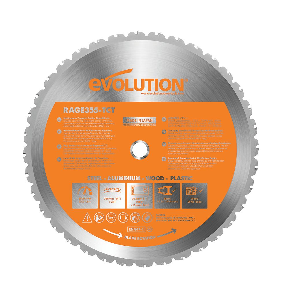 Evolution Power Tools Multi-Material Cutting Blade for RAGE2, 14-Inch