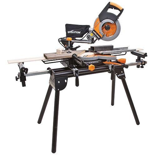 Compact Folding Miter Saw Stand with Quick Release Mounting Brackets, Rollers, and End Stops, Black