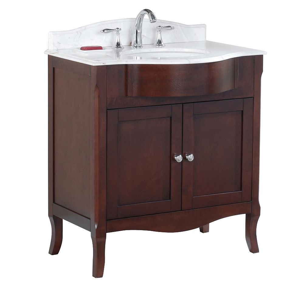 Tidalbath Bella 32 inch Vanity in Walnut w/ Marble Countertop 3-Hole