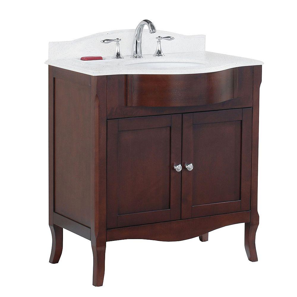 Tidalbath Bella 32 inch Vanity in Walnut w/ Quartz Countertop 3-Hole