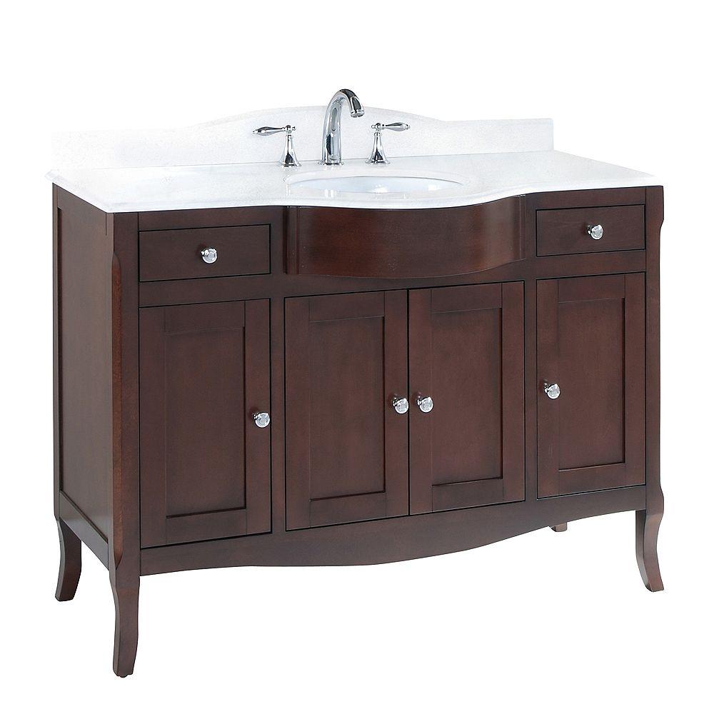 Tidalbath Bella 48 inch Vanity in Walnut w/ Quartz Countertop 3-Hole