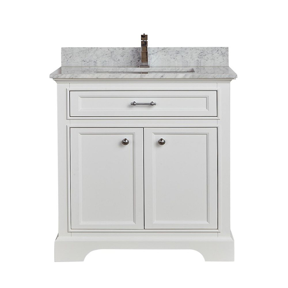 "Tidalbath Camden 31"" fini en blanc avec comptoir en marbre"