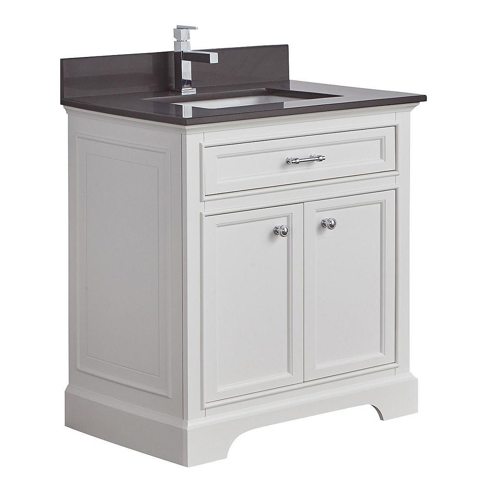 Tidalbath Camden 31 inch Vanity in Dove White w/ Grey Quartz Countertop