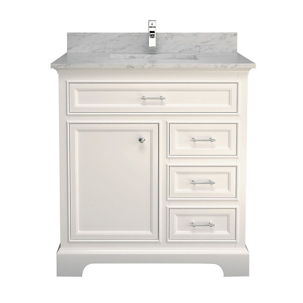 "Tidalbath Camden 37"" fini en blanc avec comptoir en marbre"