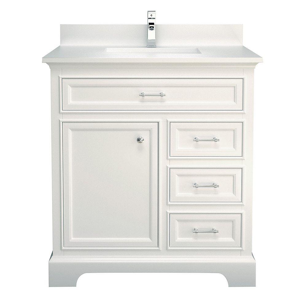 """Tidalbath Camden 37"""" fini en blanc avec comptoir en quartz blanc"""
