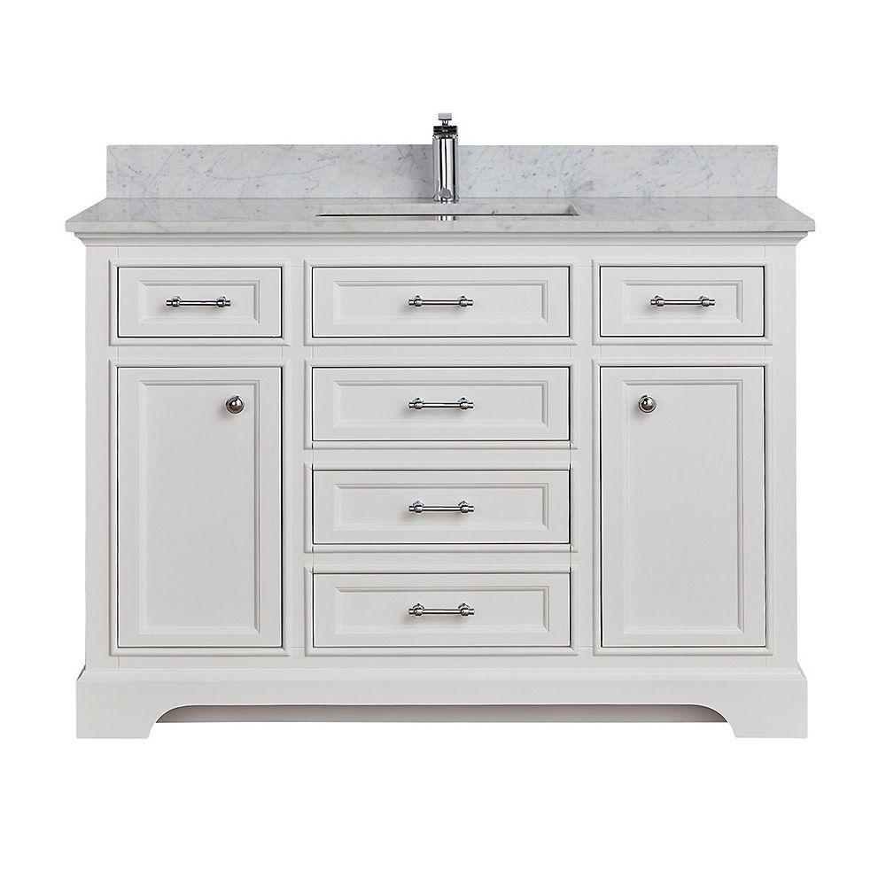 "Tidalbath Camden 49"" fini en blanc avec comptoir en marbre"