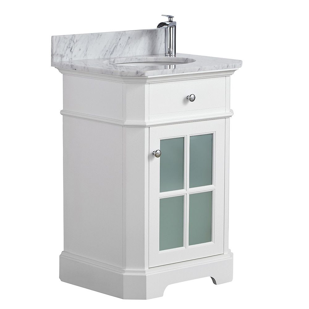 "Tidalbath Heritage 24"" fini en blanc avec comptoir en marbre"