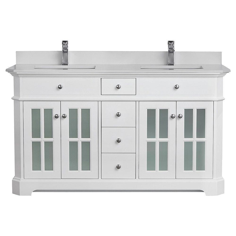 Tidalbath Heritage 60 inch Vanity in Dove White w/ White Quartz Countertop