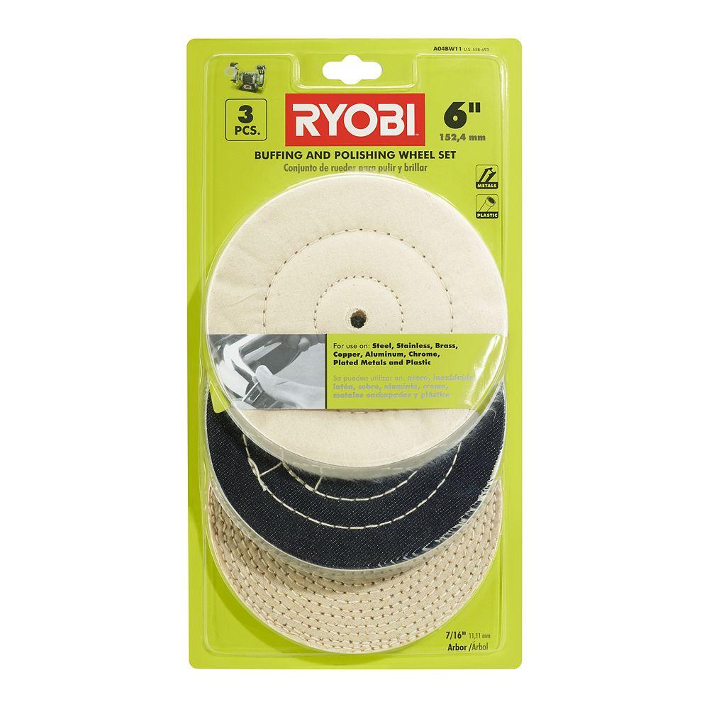 RYOBI 6-Inch Buffing Wheel Set (3-Piece)