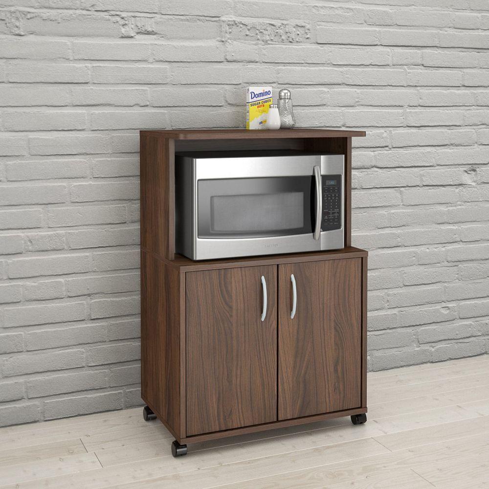 Nexera 2-Door Mobile Microwave Cart, Walnut