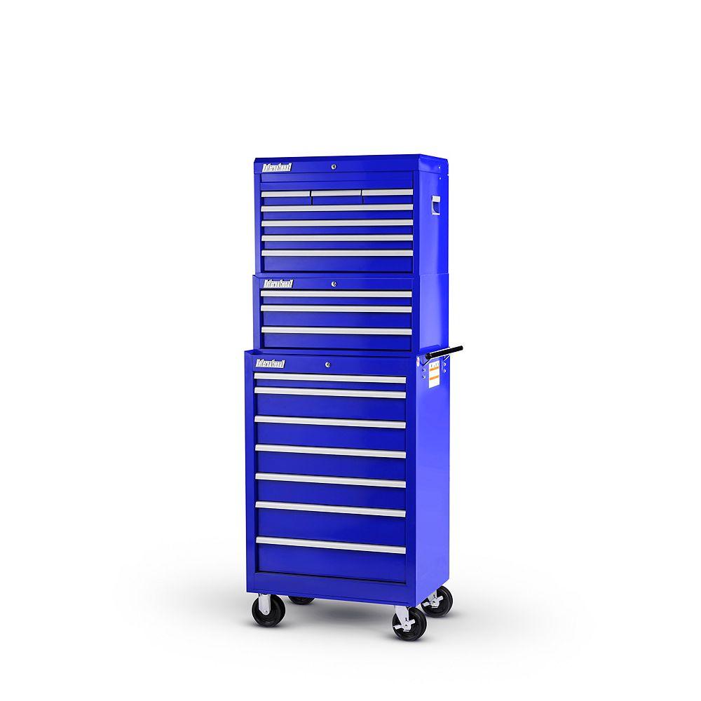 International Coffre et tiroir de 27 po à 17 tiroirs, bleu