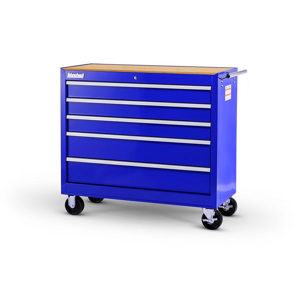 International Armoire de 42 po à 5 tiroirs avec bois durable, bleu