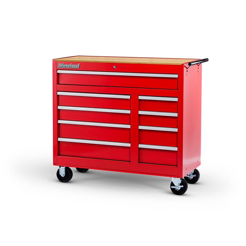 International Armoire de 42 po à 9 tiroirs avec bois durable, rouge