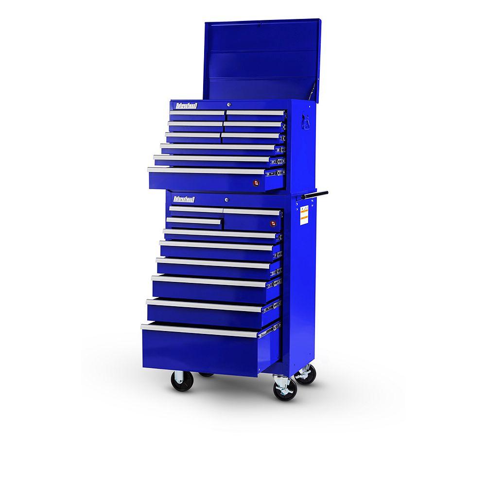 International Coffre et tiroir de 27 po à 18 tiroirs, bleu
