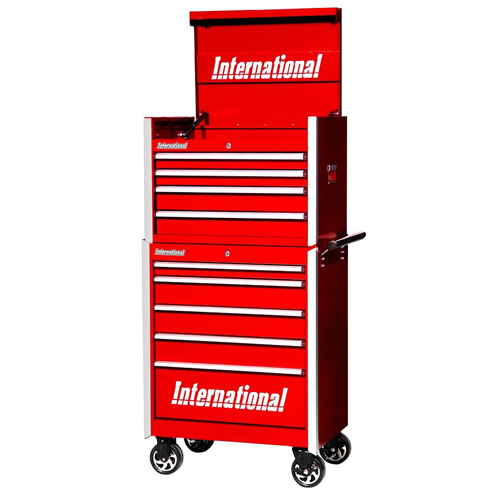International Professional Series 27-inch 9-Drawer Top Chest and Roller Cabinet in Red
