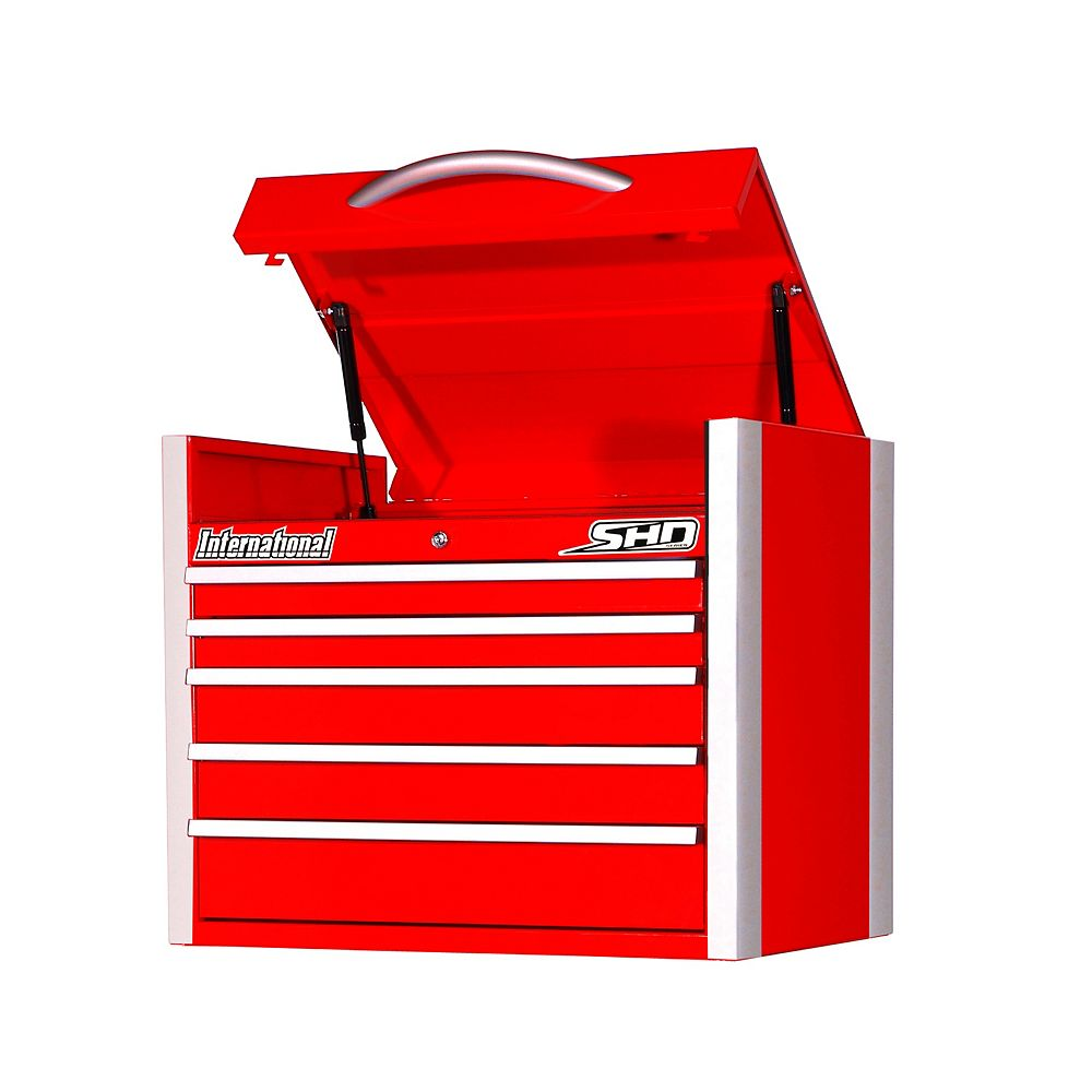 International SHD Series 27-inch 5-Drawer Top Chest in Red