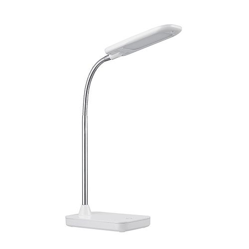 Globe Electric Integrated LED Desk Lamp in White and Chrome