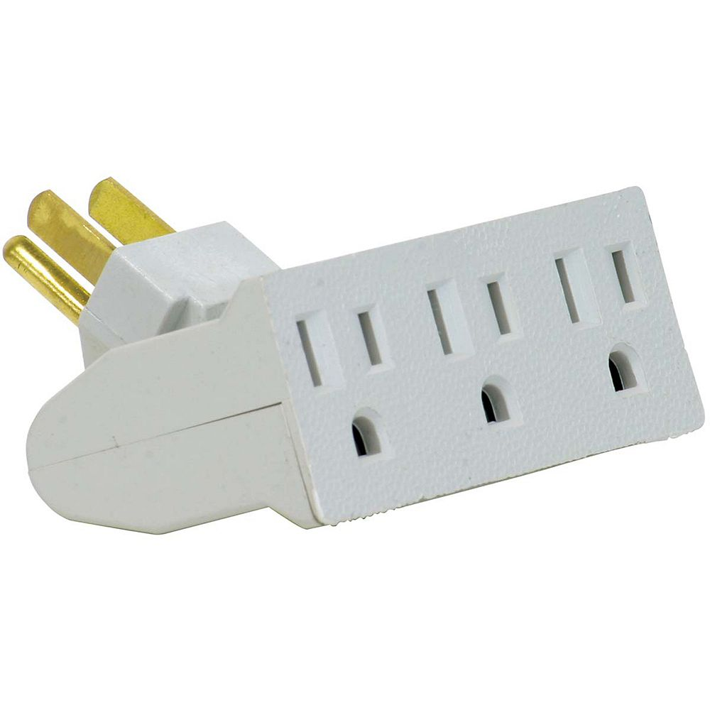 Globe Electric 3-Outlet White Lateral Swivel Grounded Wall Adapter Tap