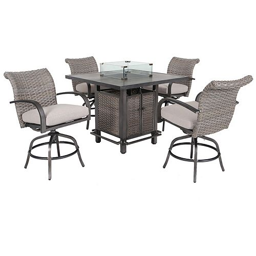 Cane Estates 5-Piece Aluminum Woven Balcony Height Dining Set with Gas Firepit table