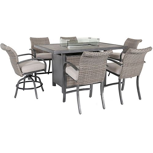 Cane Estates 7-Piece Woven Aluminum Balcony Height Dining Set with Gas Firepit table top