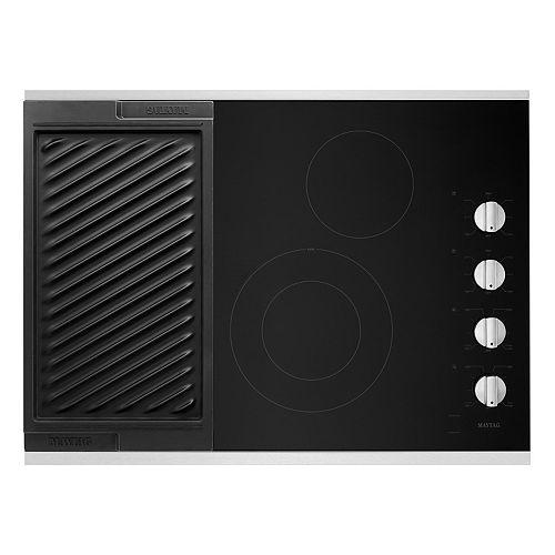 Table de cuisson électrique de 30 po en acier inoxydable à 4 éléments avec grille réversible et grille réversible.
