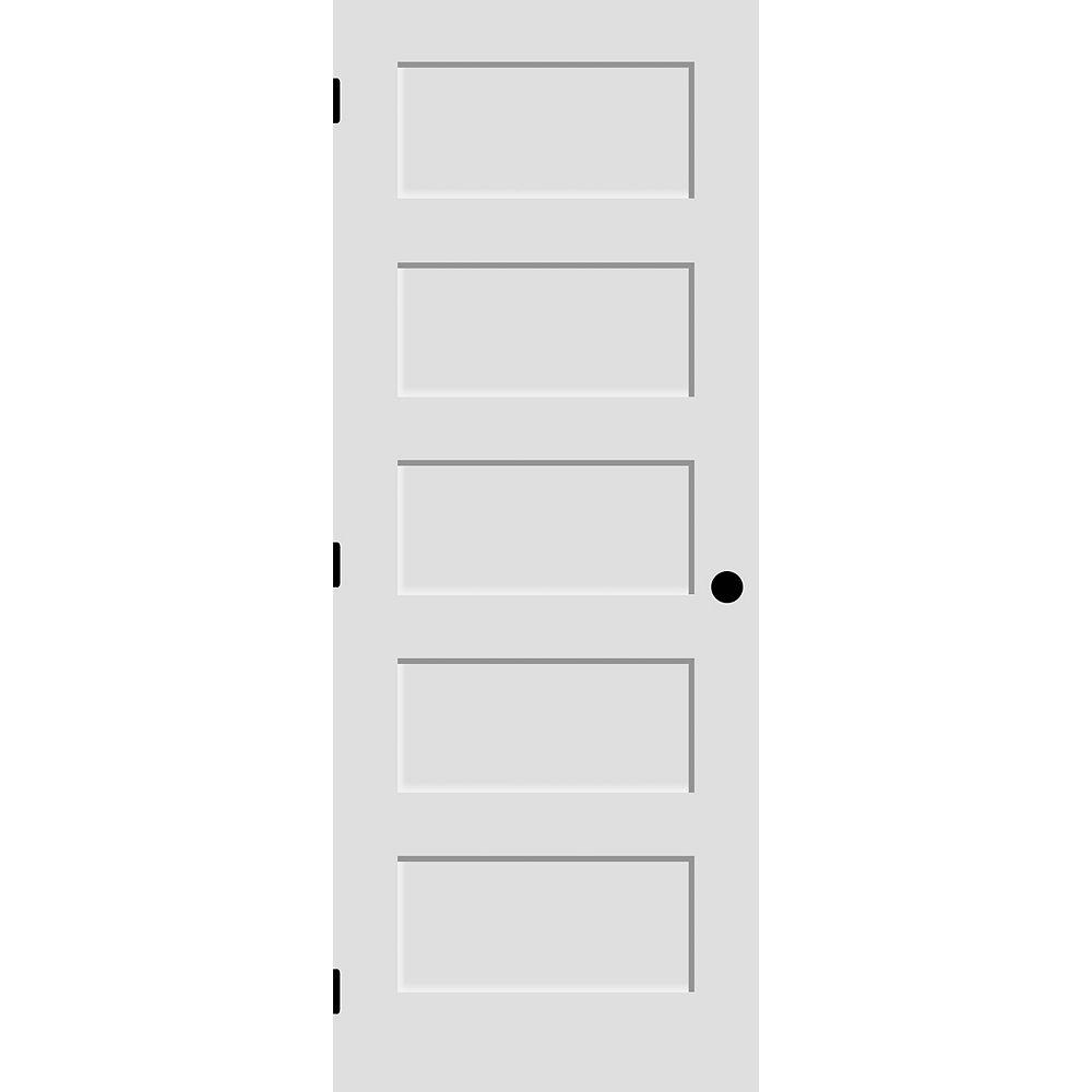 Milette 30x80 Porte à 5 panneaux en apprêt blanc de style Shaker usinée (3 pentures et trou de poignée)