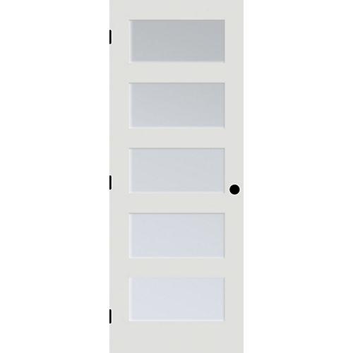 24x80 Porte française à 5 verres Laminé Blanc en apprêt blanc de style shaker usinée