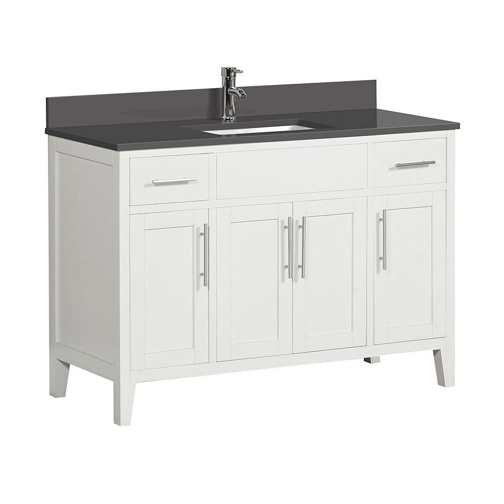 "Tidalbath Linden 49"" fini en blanc avec comptoir en quartz gris"