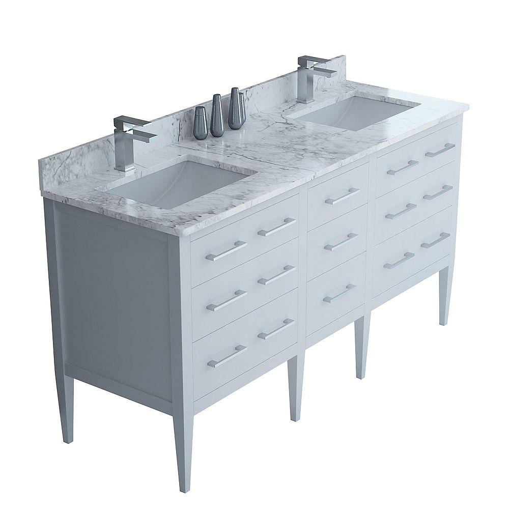 "Tidalbath Sydney 61"" fini en blanc avec comptoir en marbre"