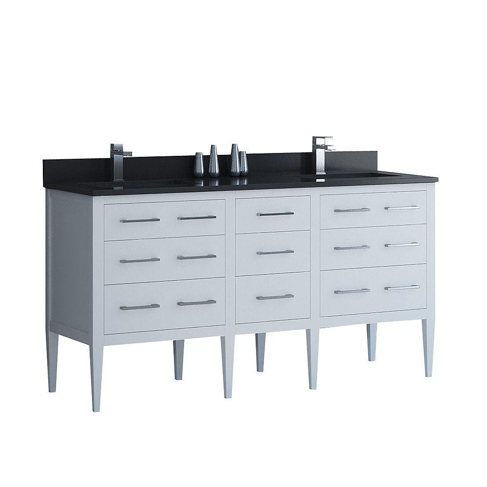 Tidalbath Sydney 61 inch Vanity in Dove White w/ Grey Quartz Countertop