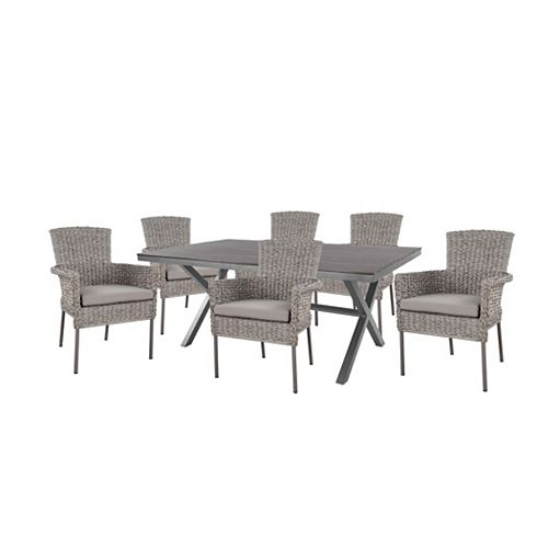 Megan Gray Seagrass Wicker 7-Piece Dining Set