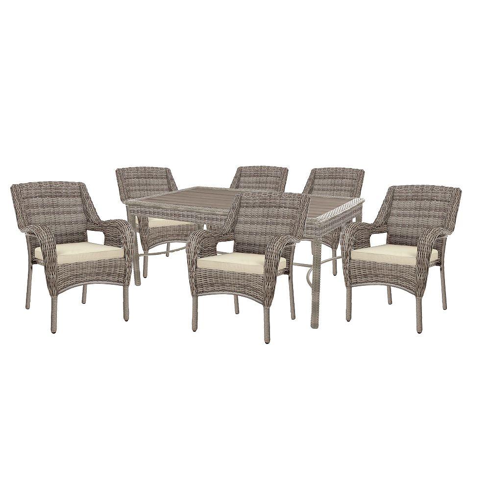 Hampton Bay Cambridge Gray Wicker 7-Piece Dining Set w/ Beige Cushion