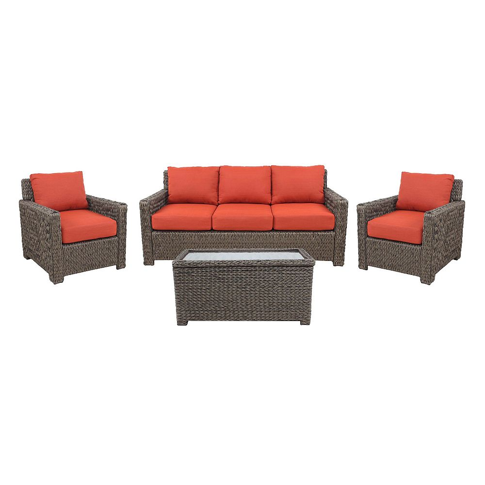 Hampton Bay Laguna Point 4-Piece Brown Wicker Outdoor Patio Deep Seating Set with Standard Quarry Red Cushions