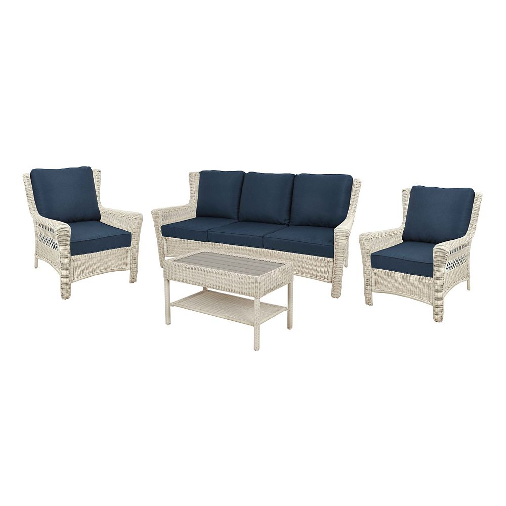 Hampton Bay Park Meadows off-White 4-Piece Sofa Set w/ Navy Cushions