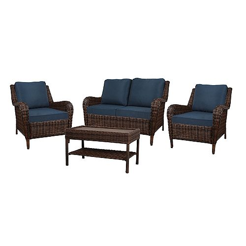Cambridge Brown Wicker 4-Piece Set with Blue Cushion