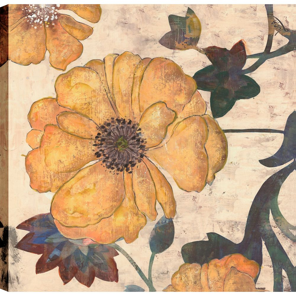 Art Maison Canada II impression florale, Art floral, Décor de Art mur d'impression toile 24 X 24 prêt à accrocher
