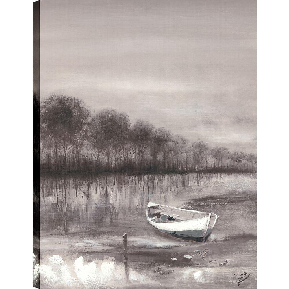 Art Maison Canada Bateau de rivière, Art du paysage, toile impression mur Art Décor 40 X 30 prêt à accrocher
