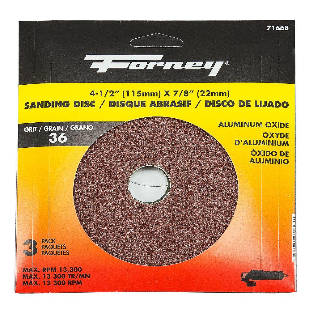 Forney Industries Resin Fibre Sanding Disc, 4-1/2 inch, Aluminum Oxide
