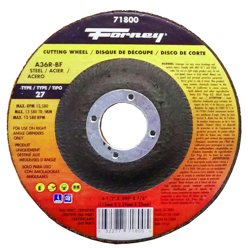 Forney Industries Cut-Off Wheel, Metal, Type 27, 4-1/2 inch x .090 inch x 7/8 inch
