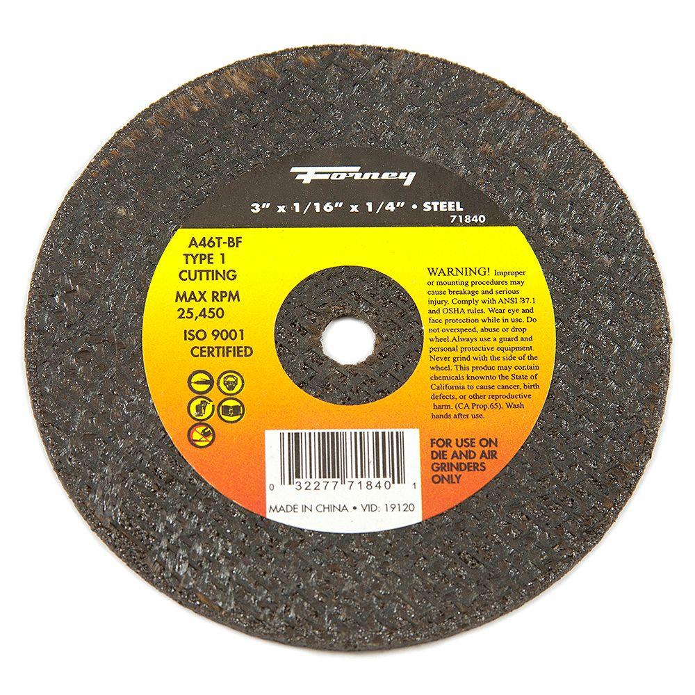 Forney Industries Cut-Off Wheel, Metal, Type 1, 3 inch x 1/16 inch x 1/4 inch