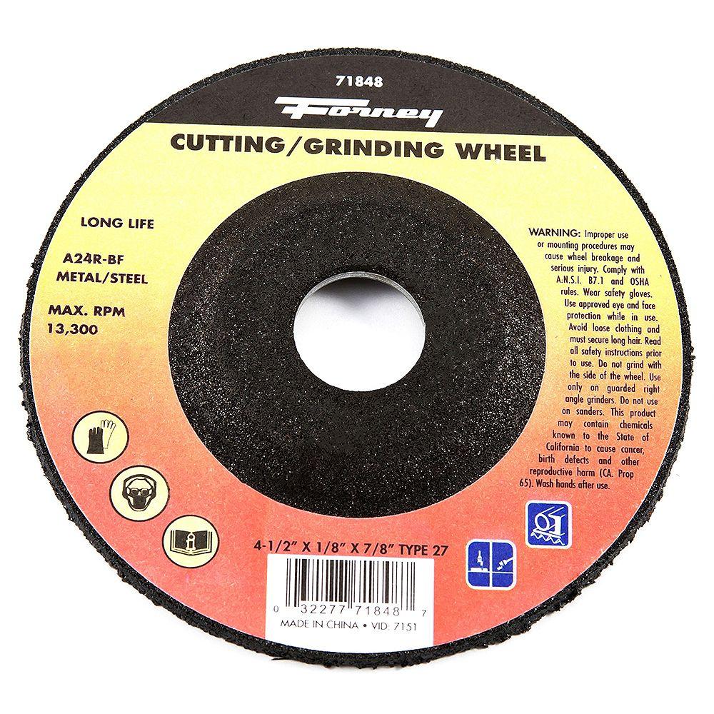 Forney Industries Cut-Off Wheel, Metal, Type 27, 4-1/2 inch x 1/8 inch x 7/8 inch