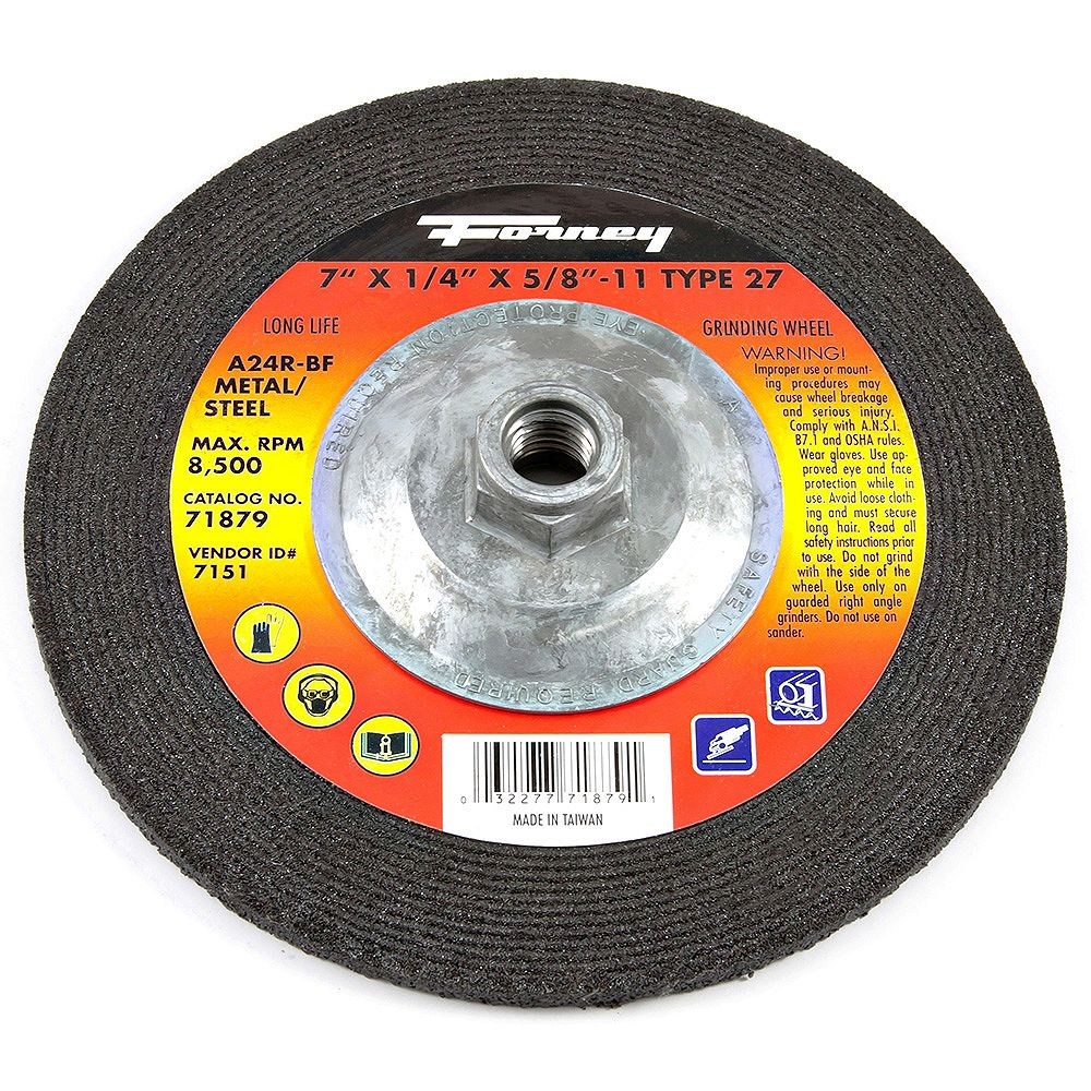 Forney Industries Grinding Wheel, Metal, Type 27, 7 inch x 1/4 inch x 5/8 inch-11