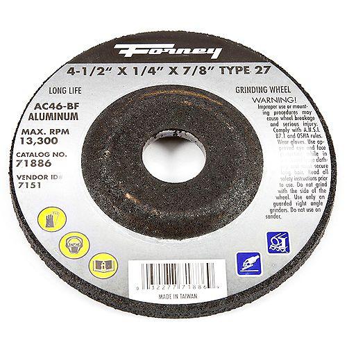 Meule, Aluminium, Type 27, 4-1/2 Po X 1/4 Po X 7/8 Po