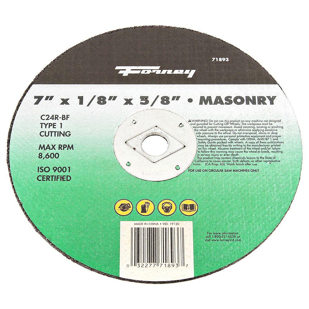 Forney Industries Disque De Tronçonnage, Maçonnerie,  7 Po X 1/8 Po X 5/8 Po